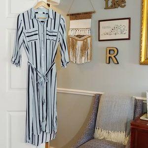 New York and Co blue midi striped shirt dress